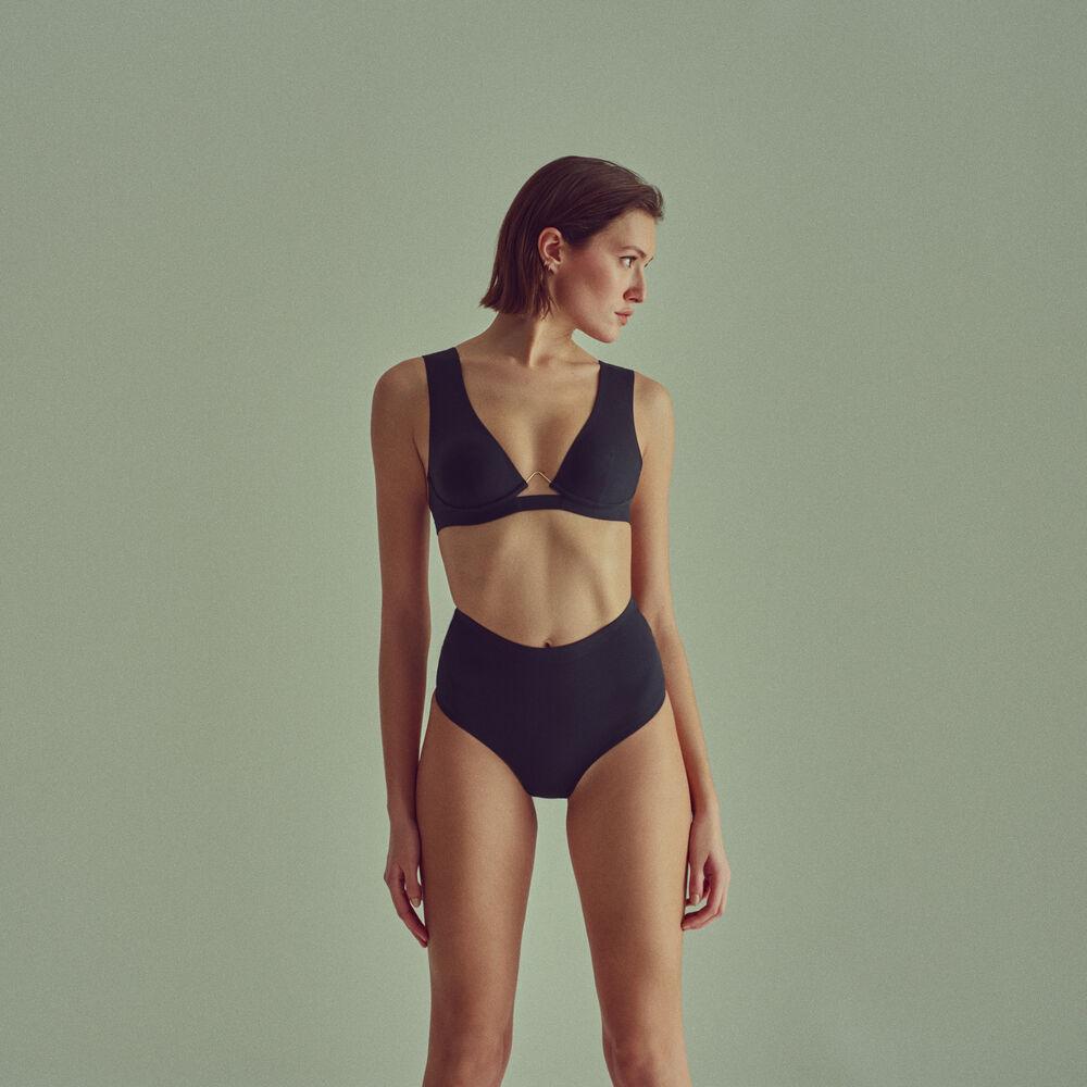 High waist brief/tanga black.